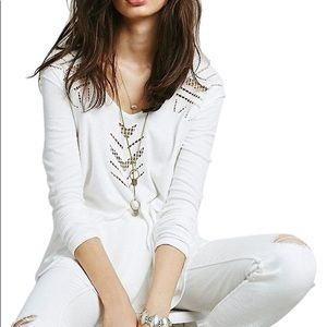 Free People Moonrise Cutout Thermal Waffle White